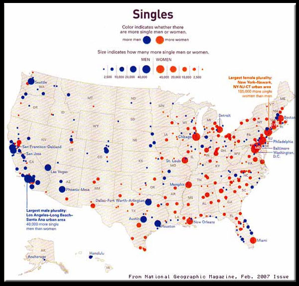 Distrobution of Singles in the United States According to National Geographic
