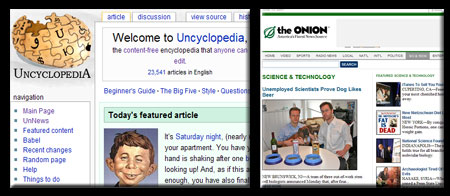The Uncyclopedia and The Onion