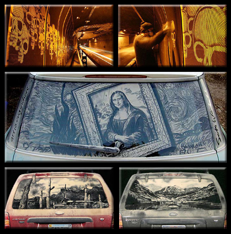 Reverse Graffiti on Walls and Cars