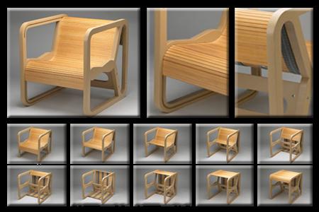 ReykjavÃÂk Mogga Is A Remarkably Elegant Chair That Turns Into Table