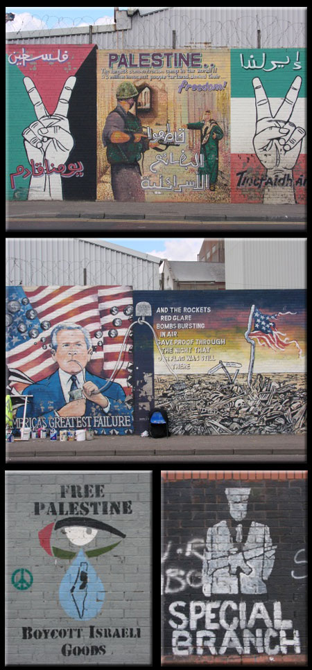 Belfast Murals Concerning the USA, Palestine and Other Global Conflicts