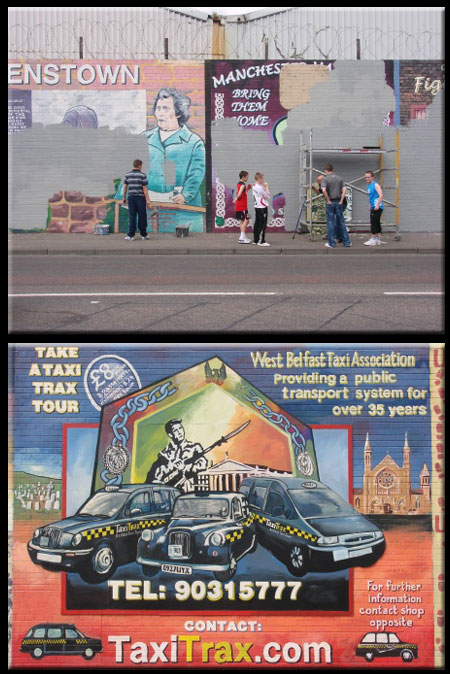 Beflast Murals Painted Over with Neutral Colors or Advertisements