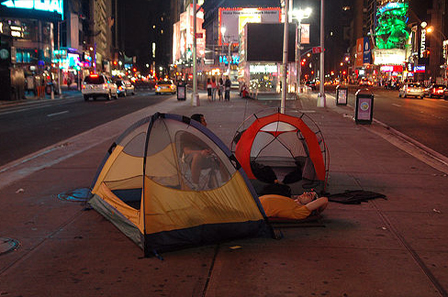 Camping in Times Square