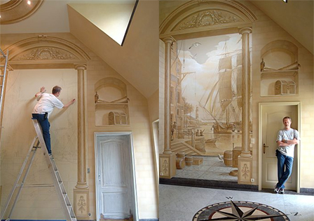 3d architectural illusions 12 paintings murals mosaics for 3d interior wall murals