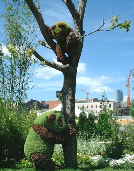 Green Panda Sculptures