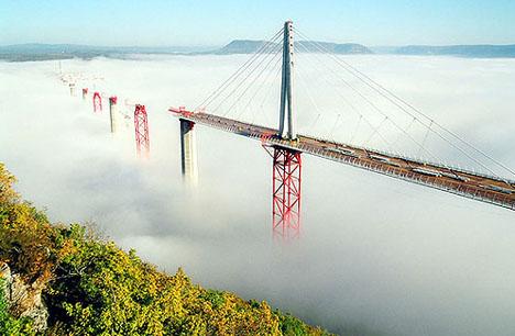 Millau Bridge in the Mist