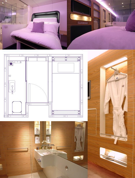 Pipes to capsules 7 of the smallest hotels hotel rooms urbanist - Room design for small space plan ...