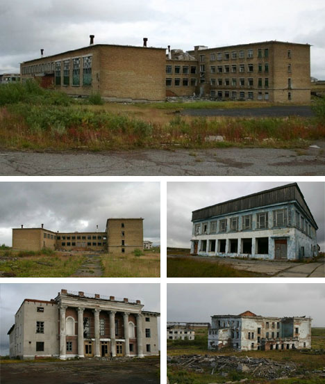 Deserted Rural Russian City Buildings