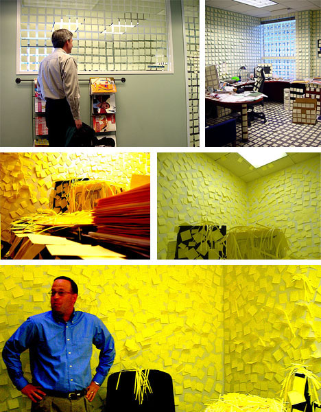 stick em up 16 post it note pranks sculptures murals. Black Bedroom Furniture Sets. Home Design Ideas