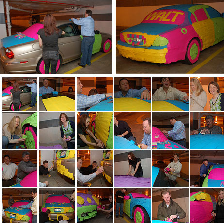 Post It Noted Jaguar Art Prank.