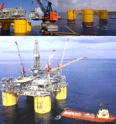 Aerial Ocean Oil Rig Shot