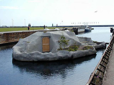 Bizarre Weird Rock Houseboat Design
