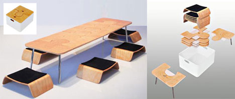 Creative Collapsible Dining Room Table Set