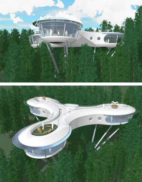 futuristic sustainable and ecological tree house design - Most Expensive Tree House In The World