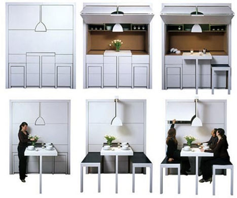 Awesome Kitchenette With FoldOut Chairs And Counter