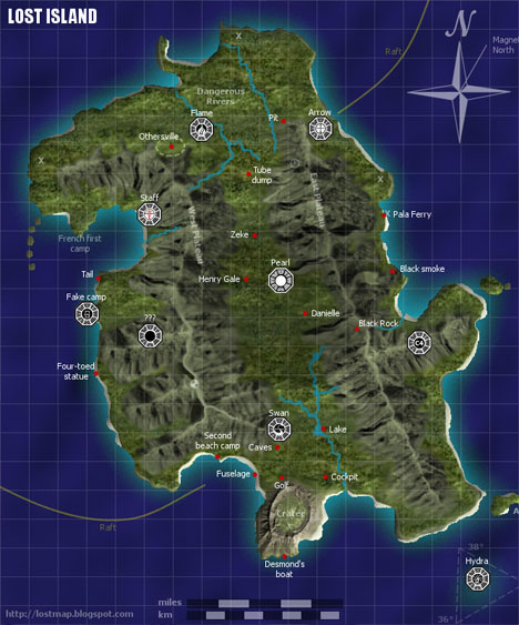 Lost Island Map of Dharma Initiative Abandonments Stations