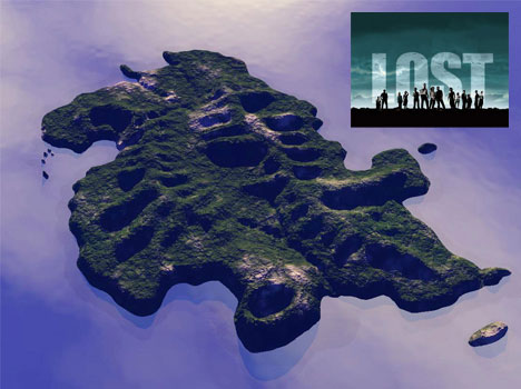Lost Television Show Island Map and Rendering