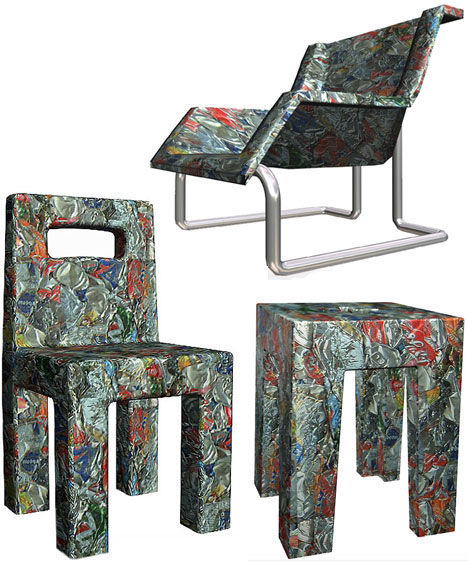 Crushed Cans Furniture Designs