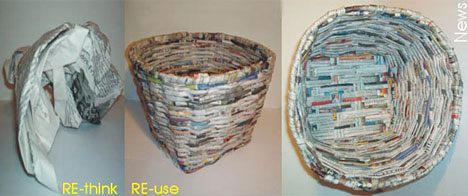 Recycled Newspaper Basket Furniture