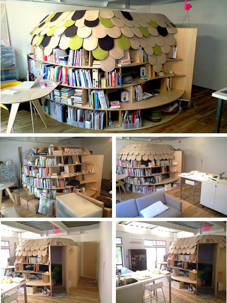 Bedroom made of Bookshelves