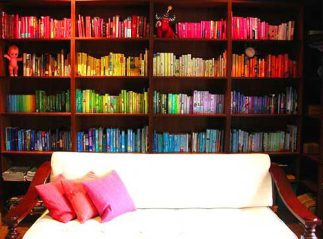 color coded bookshelves colored bookcase - Colored Bookshelves