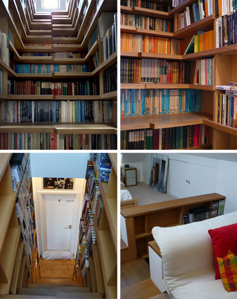 Stairs Bookshelves: What started as a space-saving strategy turned into a  centerpiece of this interior redesign. The experience: complete  book-overload as ...