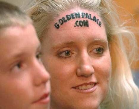 outrageous guerrilla marketing forehead tattoo