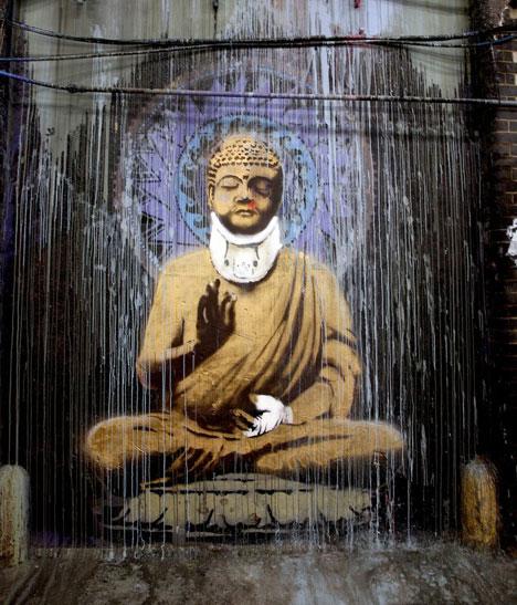 banksy graffiti cans festival buddha