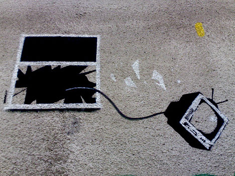 banksy graffiti throw away tv