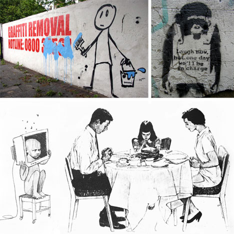 banksy graffiti stencil and drawing