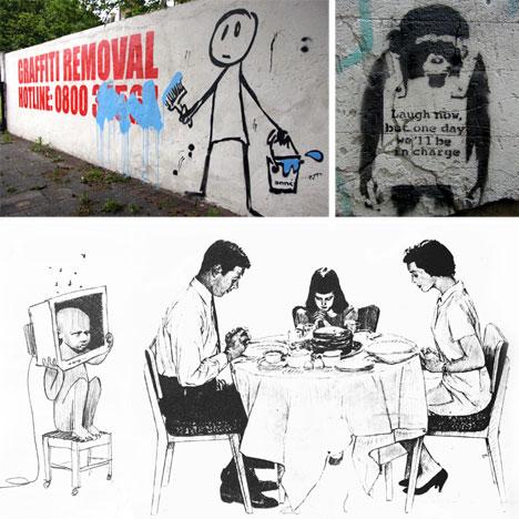 banksy graffiti stencil and drawing