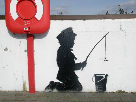 banksy guerrilla art fisherboy