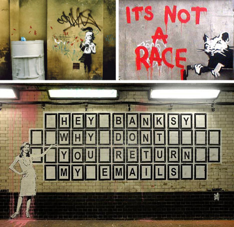 banksy photos prints tattoos street art (Top images via: Banksy.co.uk Bottom