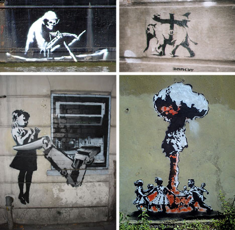 banksy stencil collage