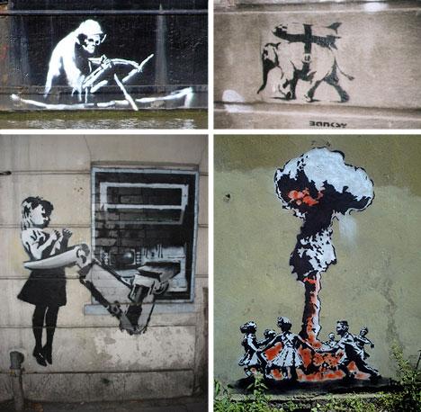 banksy stencil collage