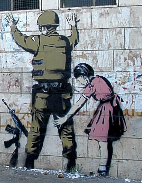 banksy west bank guerrilla art