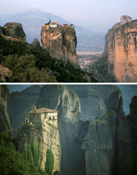 cliff dwellings meteora monasteries