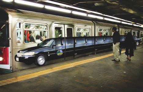 guerrilla art marketing subway limo