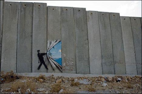 guerrilla art palestine wall banksy
