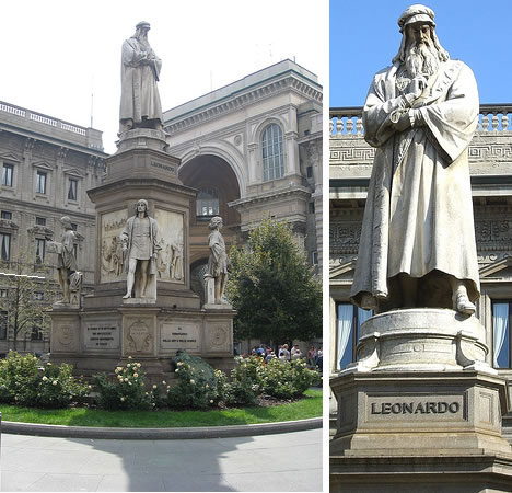 Leonardo da Vinci statue in Millan