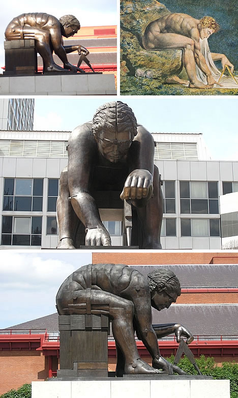 Sir Isaac Newton Monument outside of British Library in London