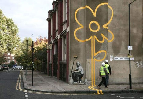 street art banksy flower