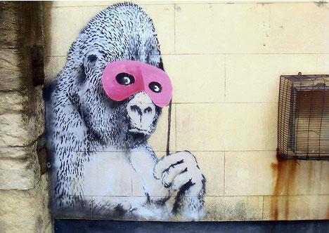 banksy gorilla mask street art