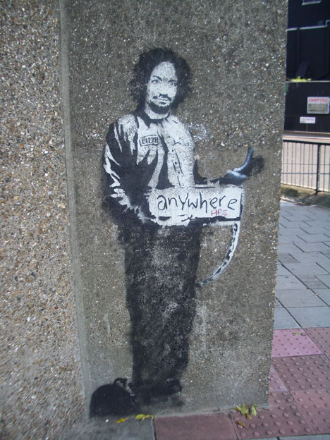 banksy quotes charles manson hitchhiker london archway