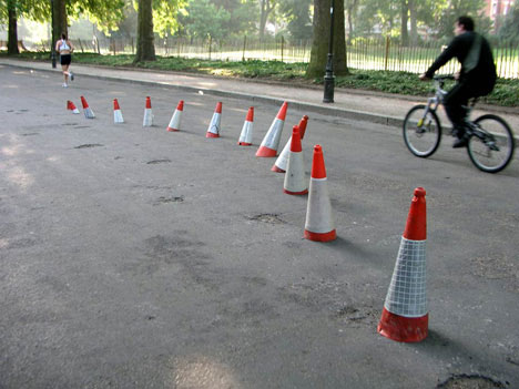 banksy street art cones sinking