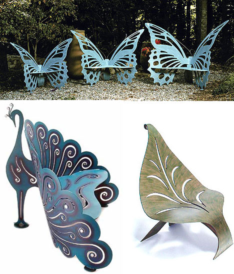 unusual garden furniture butterfly benches peacock bench leaf chair - Garden Furniture Unusual