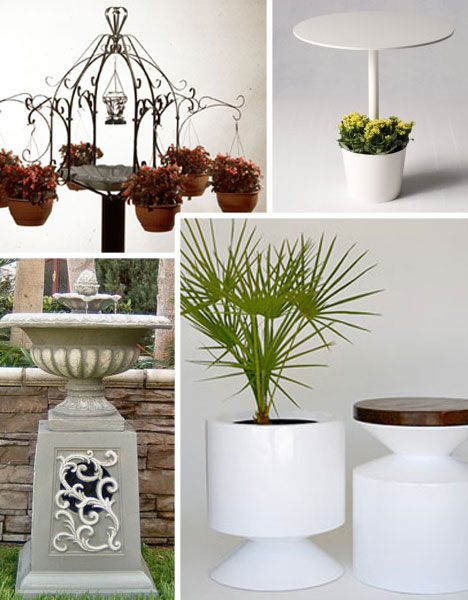 unusual garden furniture planters birdbaths outdoor speakers