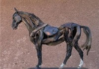 Small Driftwood and Metal Horse