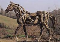 Life-size Driftwood Horse Sculpture