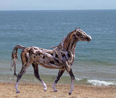 Large Driftwood Horse Sculpture on the Beach